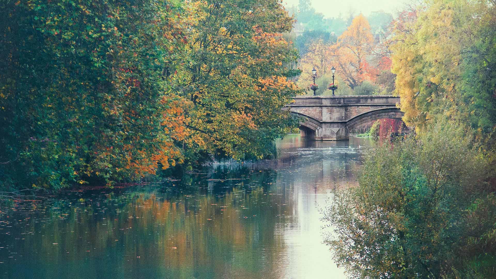 Bridge in Autumn over river in Stamford, UK