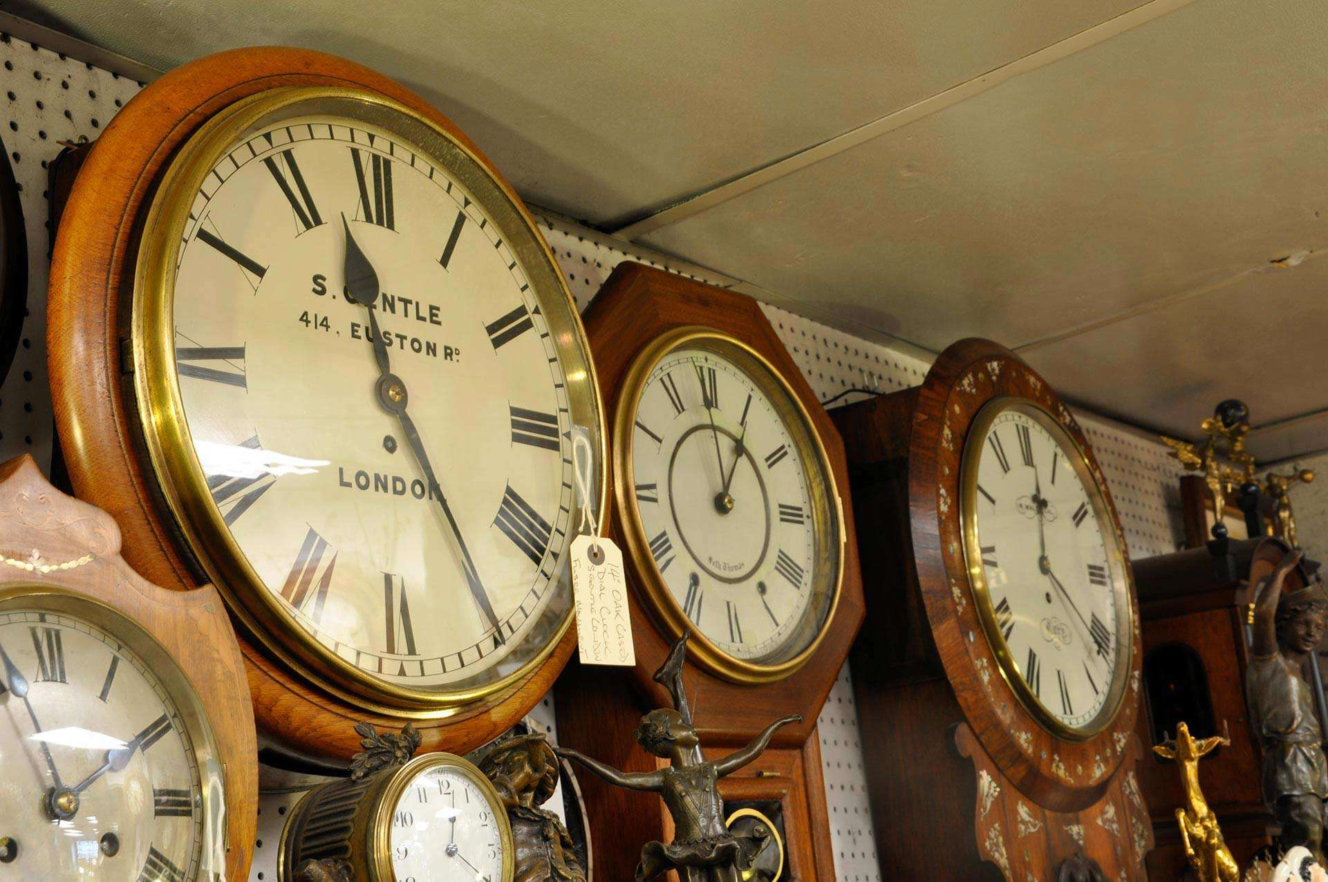 Range of clocks at St. Martins Antiques Centre
